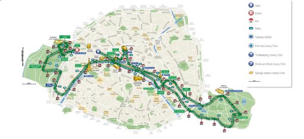 percurso maratona de paris mapa